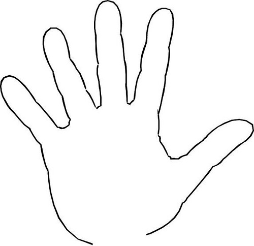Hand traced. Free handprint template printable