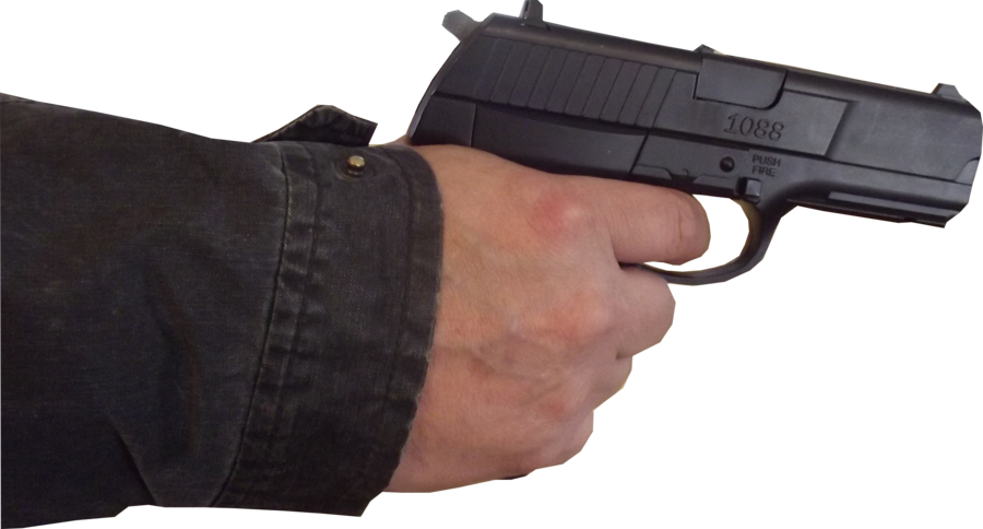 Hand with gun png. Male stock pose by