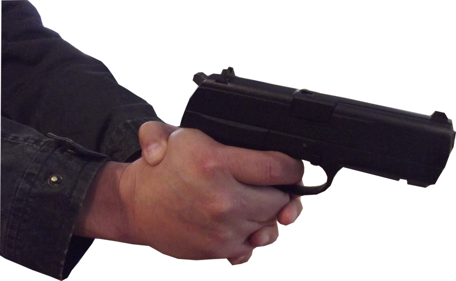 Hand with gun png. Male stock pose two