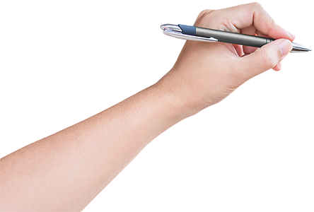 Hand with pen png. Our story keep a