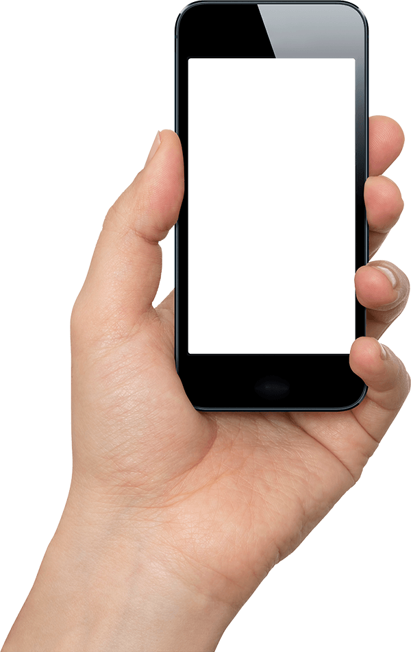 Hand with phone png. Black mobile