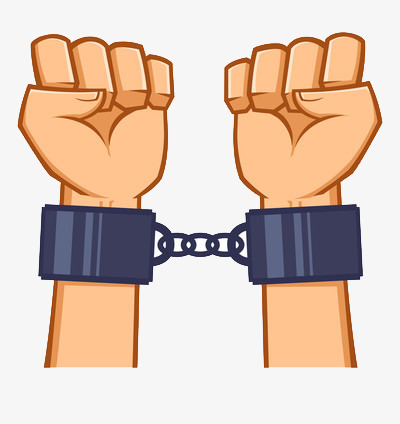 Handcuffs clipart shackles. Handcuffed hands shackle png