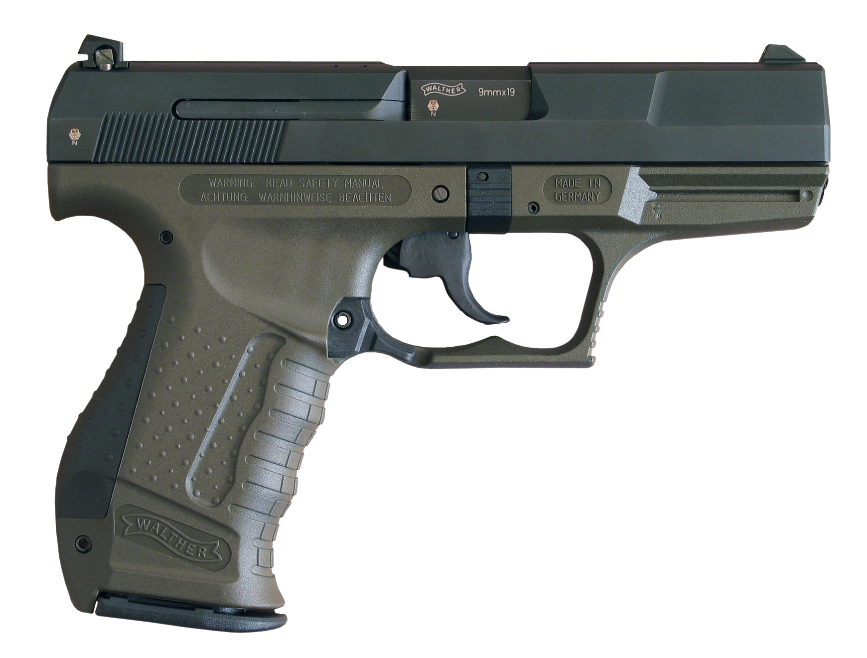 Handgun transparent army. The walther p is