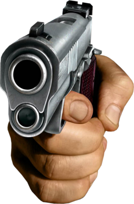 Handgun transparent hand holding. Psd detail gun official