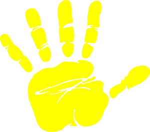 Handprint clipart. Yellow