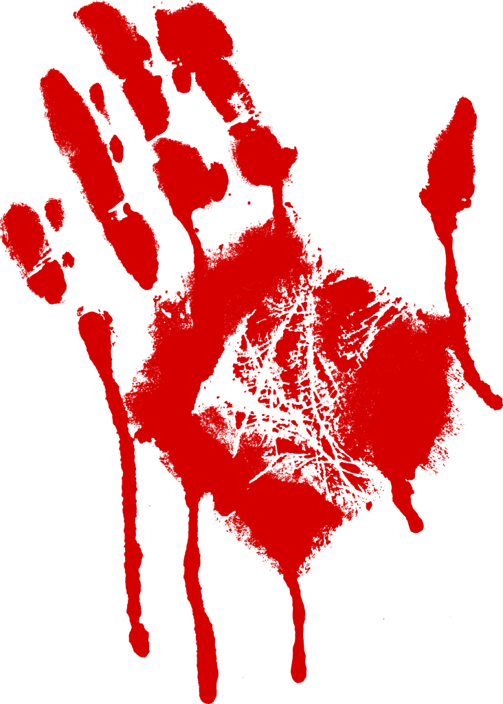 Handprint transparent paint. Red bloody png