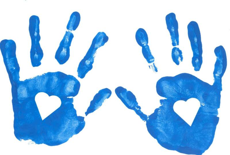 Handprint clipart little hand. Baby print collection animations