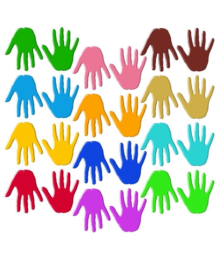 Handprint clipart multi colored. Pairs of coloured handprints