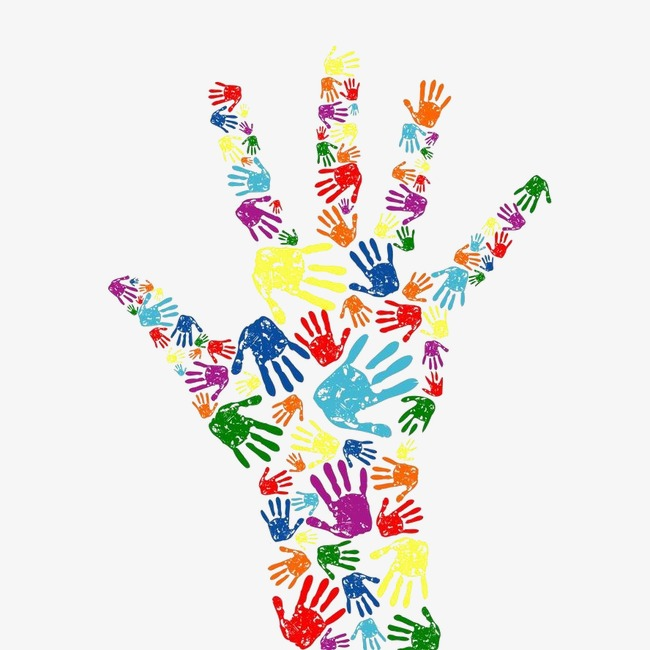 Handprint clipart multi colored. Color palm hand cartoon