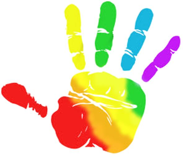 Handprint clipart multi colored. Helpful hand pencil and