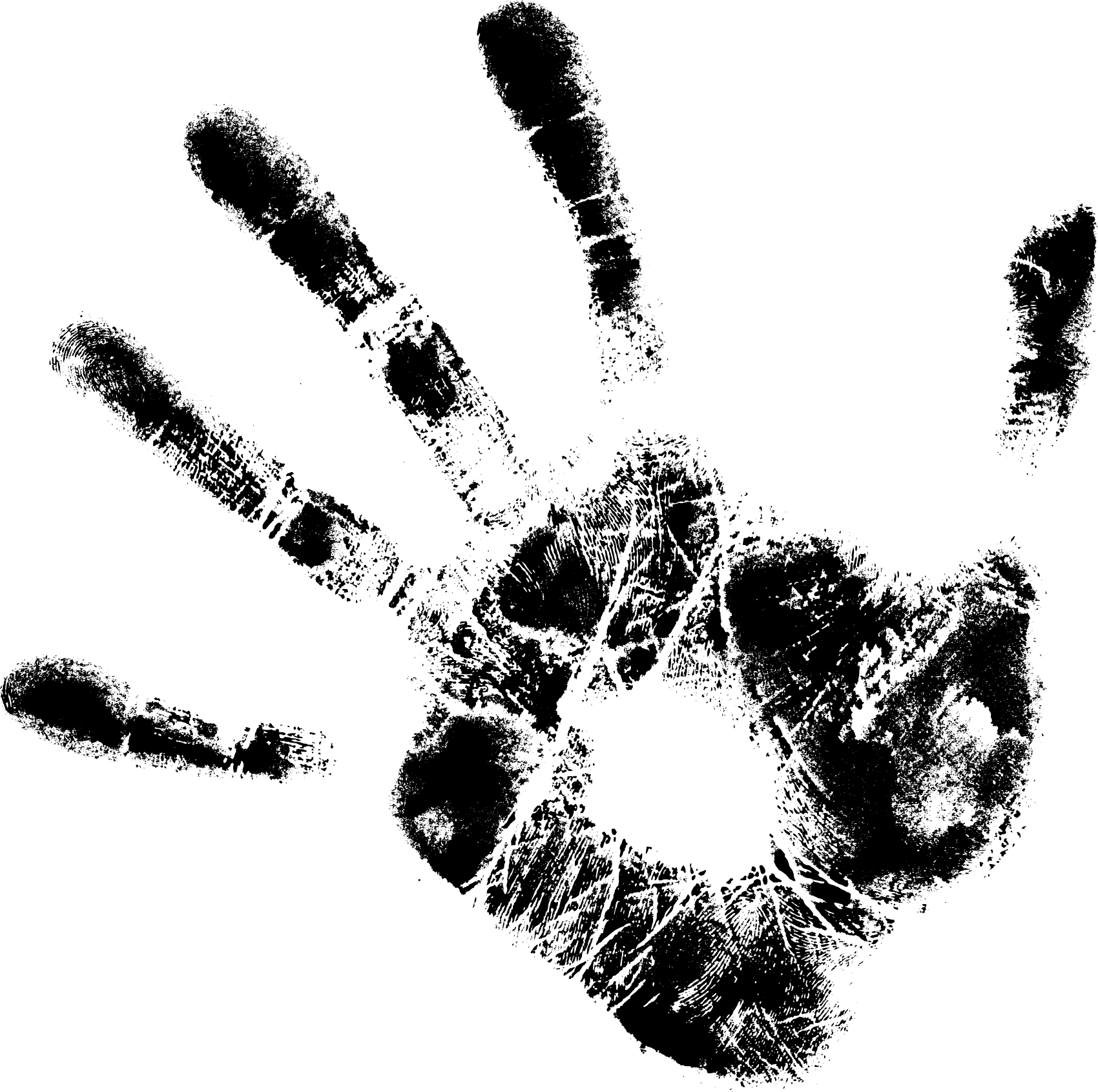 Handprint drawing. Black handprints png