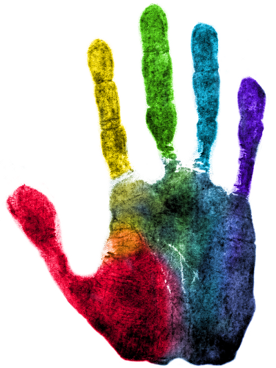 Handprint drawing neon. Rainbow look at all