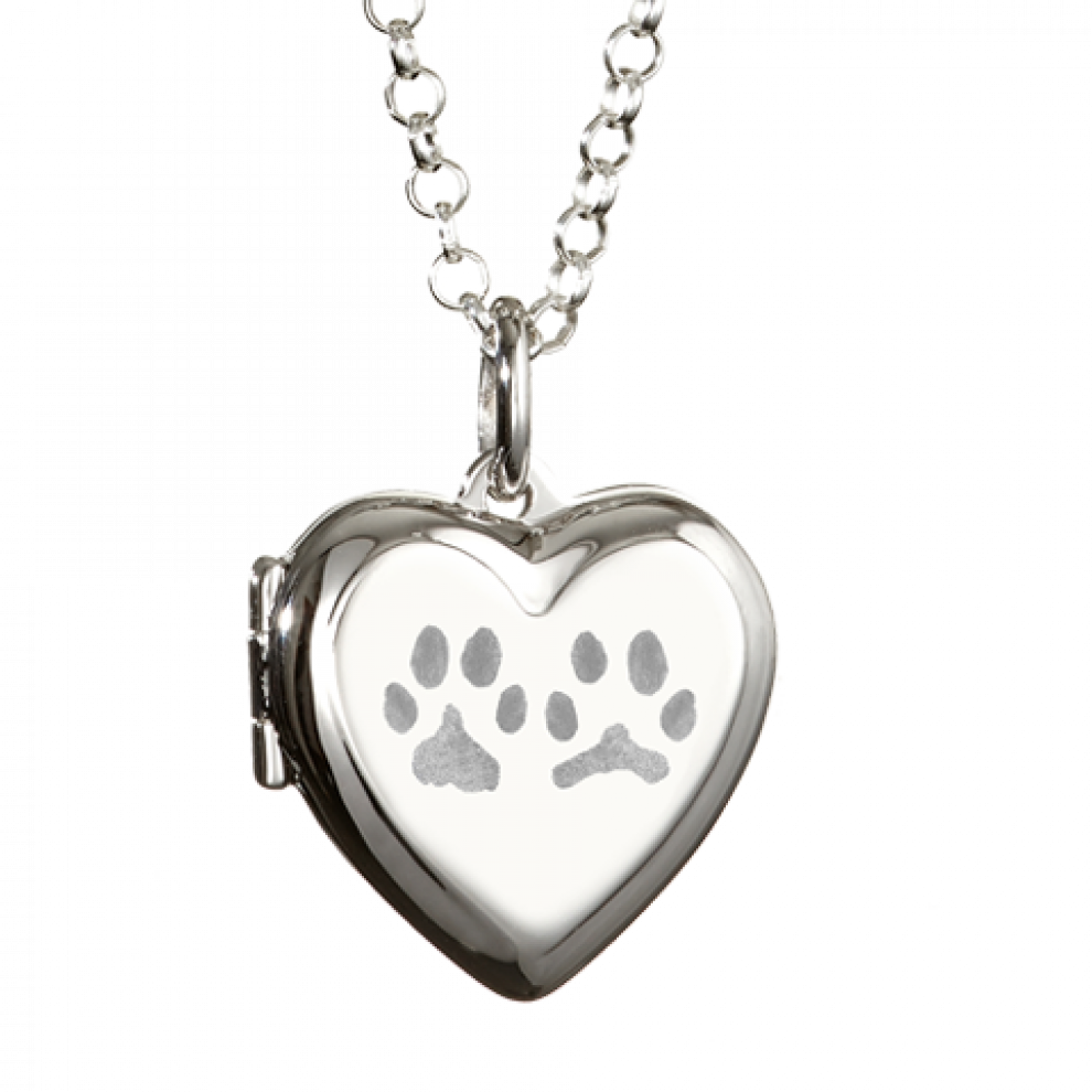 Handprint drawing paw print. Heart locket necklace reverse