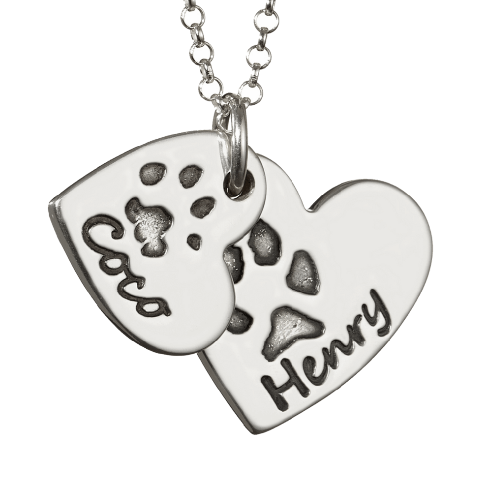 Handprint drawing paw print. Descending heart necklace