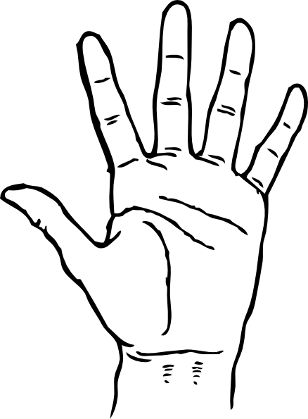 Handprint drawing sketch. Hand clip art at