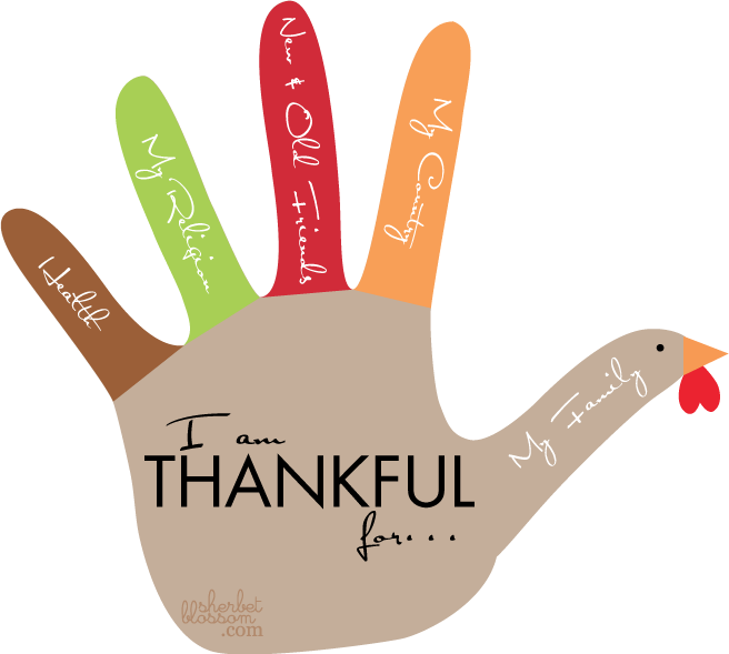 Handprint drawing turkey. Collection of thanksgiving