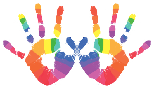 Handprint transparent colorful. Home young performers acting