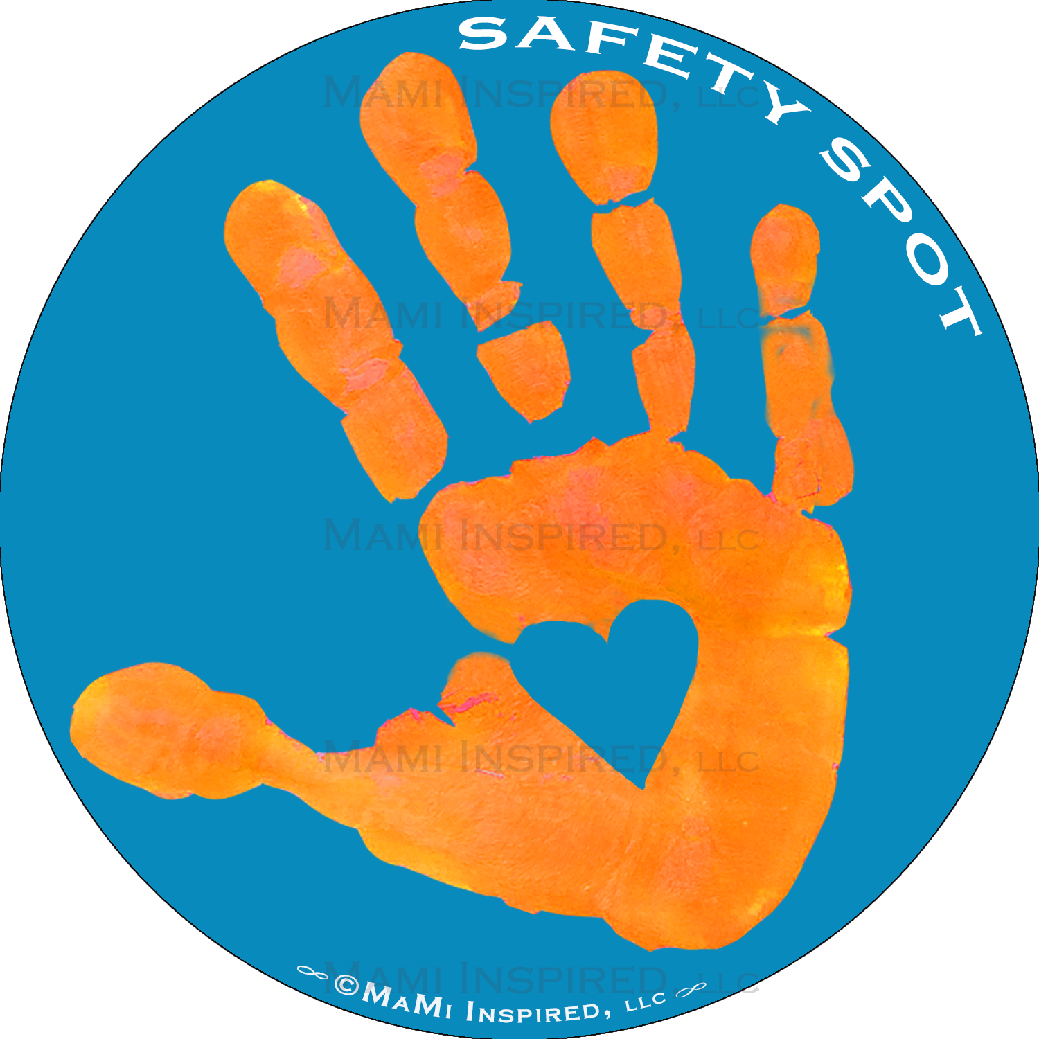 Handprint transparent digital. Safety spot orange kid