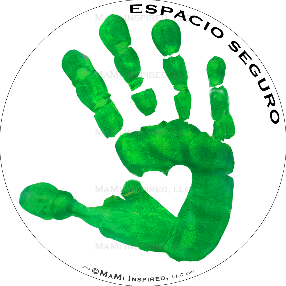 Handprint transparent digital. Espacio seguro spanish safety