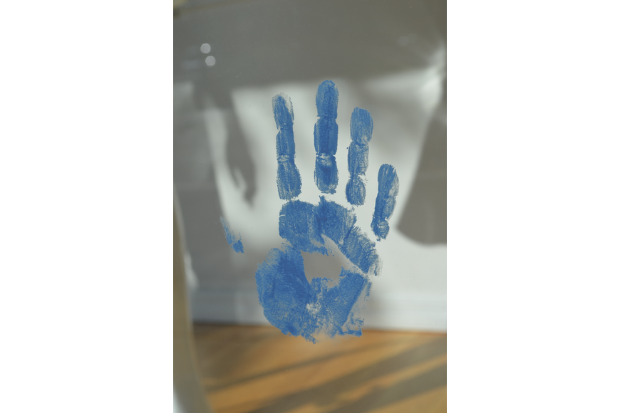 Handprint transparent finger paint. The town blue with