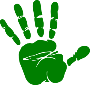 Handprint transparent police. Green hand print md