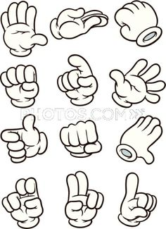 Hands clipart animated. Cartoon making different gestures