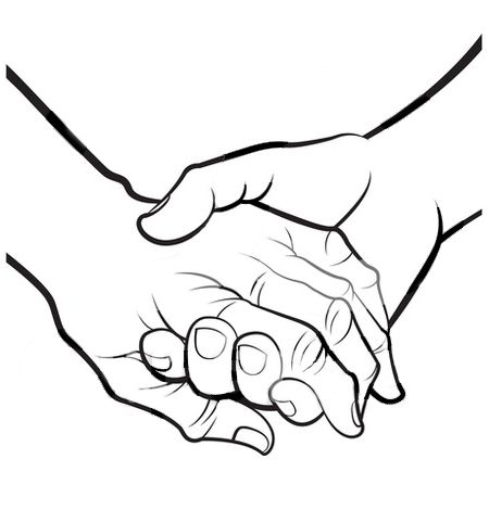 Hands clipart hand holding. Black and white panda