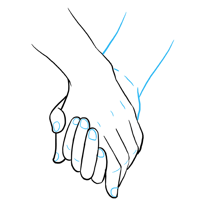 Fingers drawing. Hand holding a knife
