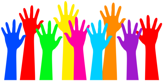 Hands in air png. Rainbow colored raised free