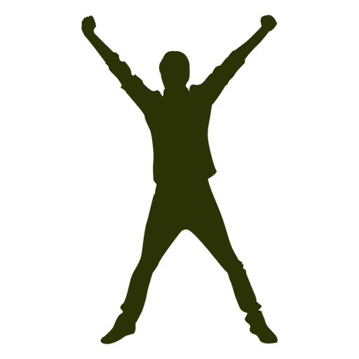 Hands in the air png. Man jumping silhouette transparent