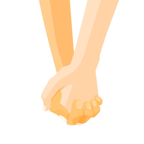 Hands of a couple holding hands design template. Vector illustration male