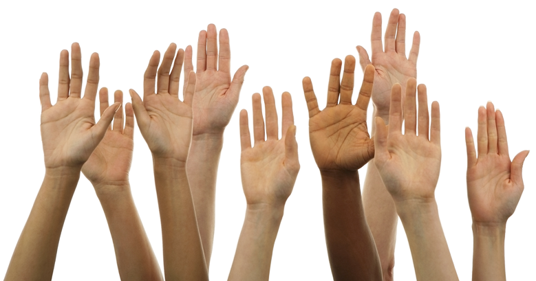 Hands raised png. Contribute