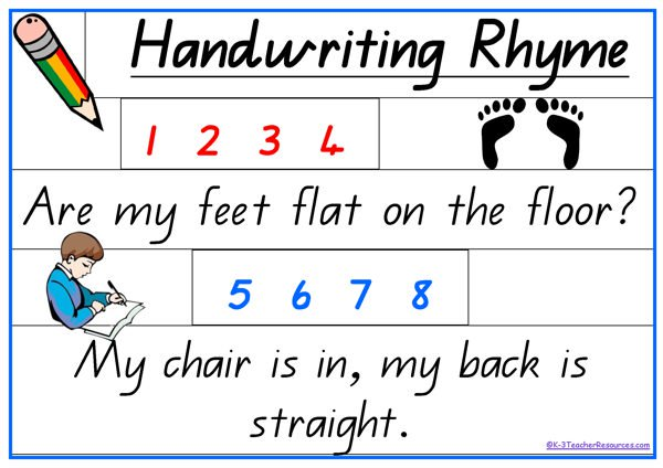 Handwriting clipart contents page. Rhyme