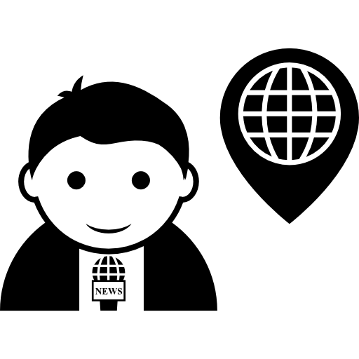 Handwriting clipart reporter. Journalist talking about world