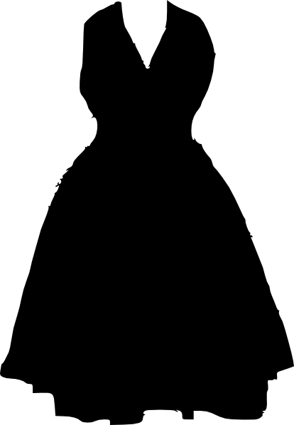 Hanger clipart formal dress. On black and white