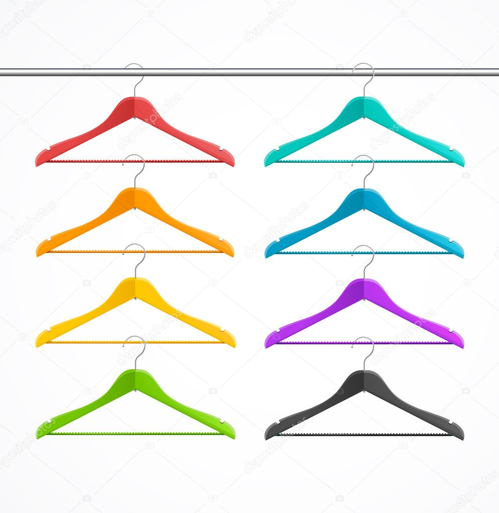 Hanger clipart rainbow. Coat wood set isolated