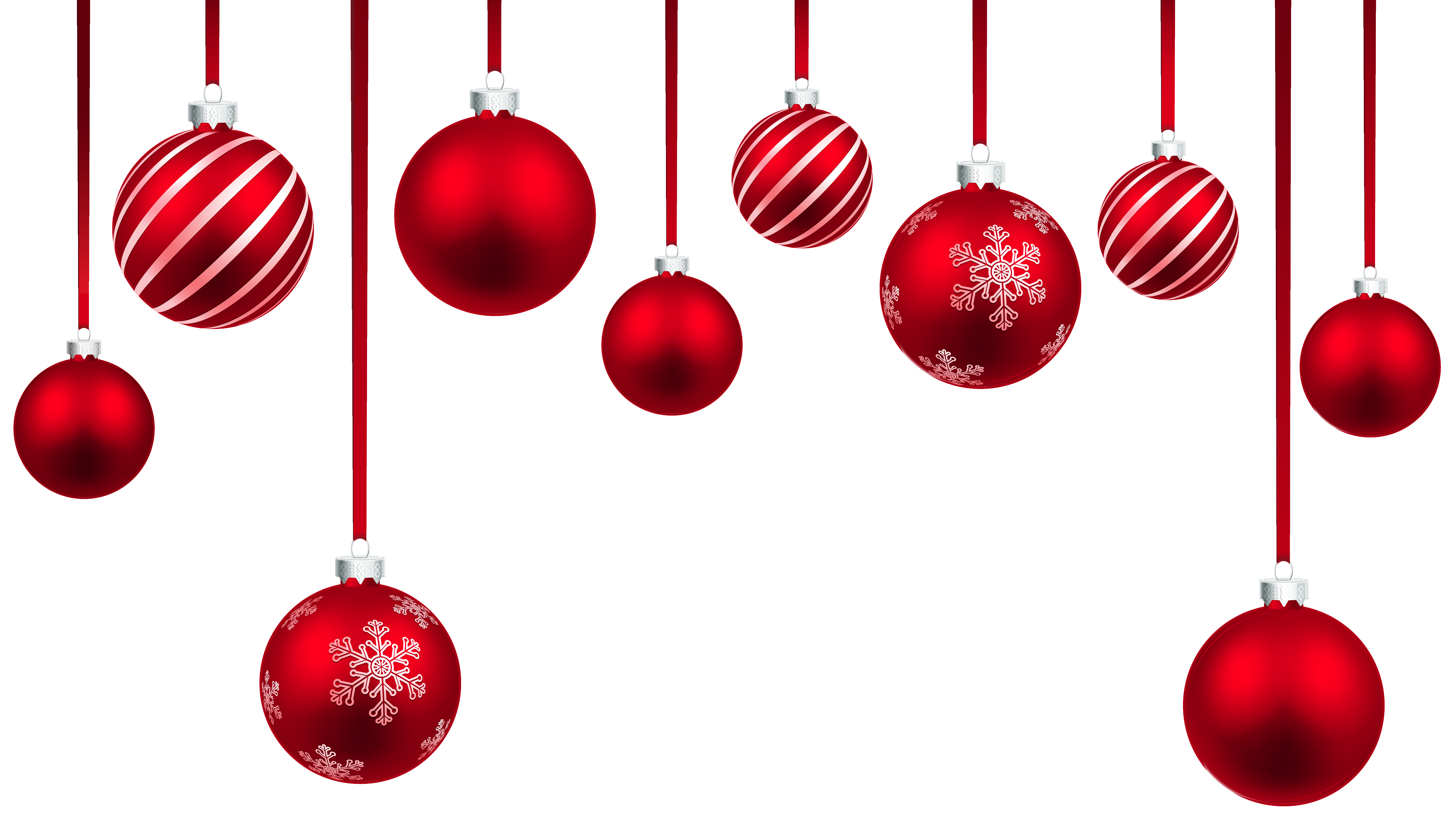 Hanging christmas ornaments png. Red balls decor clipart