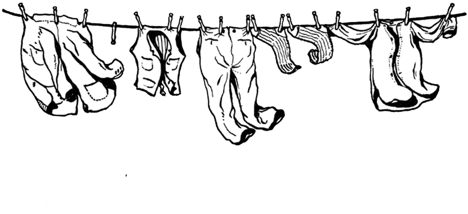 Hanging clothes clipart png. Clothesline and assorted black