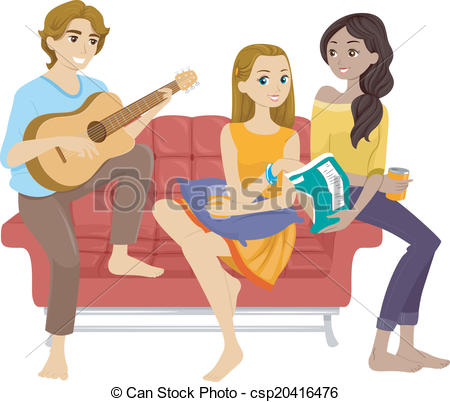 Hanging out with clipart. Illustration of teenage friends banner transparent download