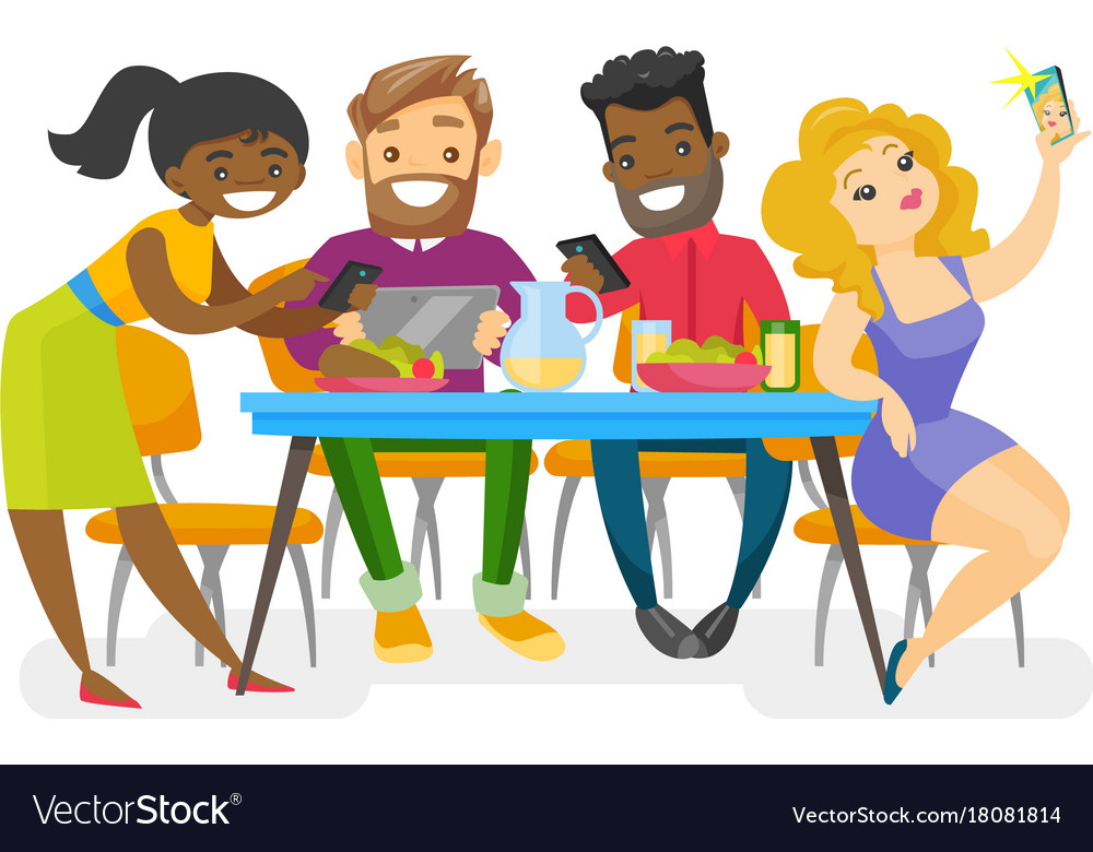 Young multiethnic friends together. Hanging out with clipart vector freeuse download