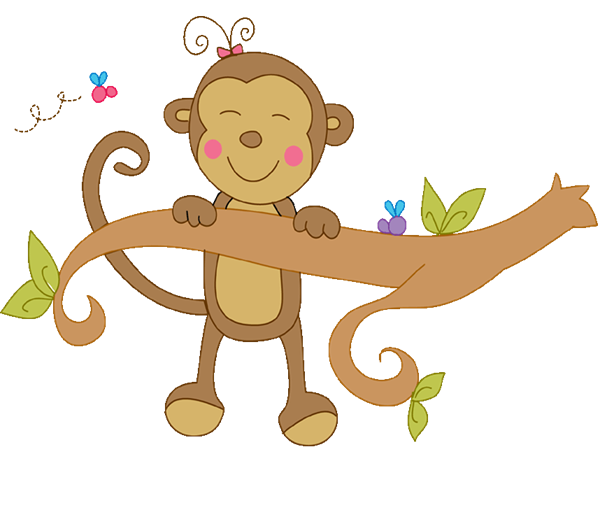 Monkey swinging . Yell clipart girl black and white library