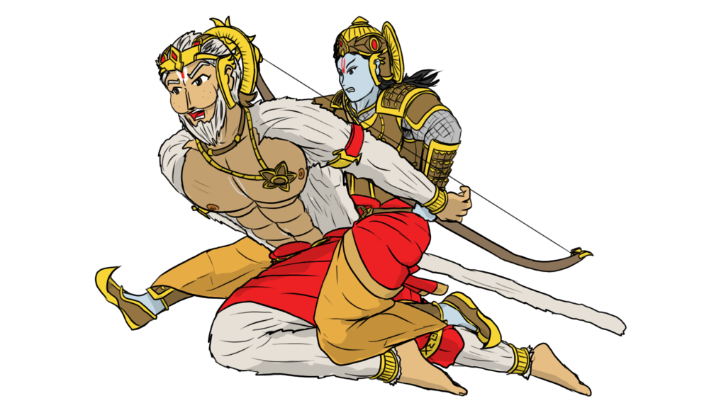 Hanuman drawing muscle. Rama and assault achievement
