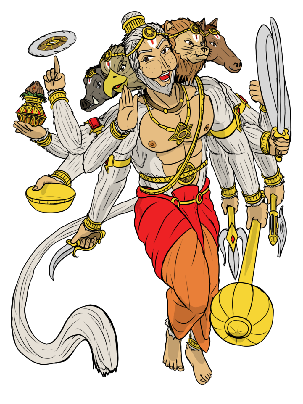 Hanuman drawing warrior. On the veda deviantart