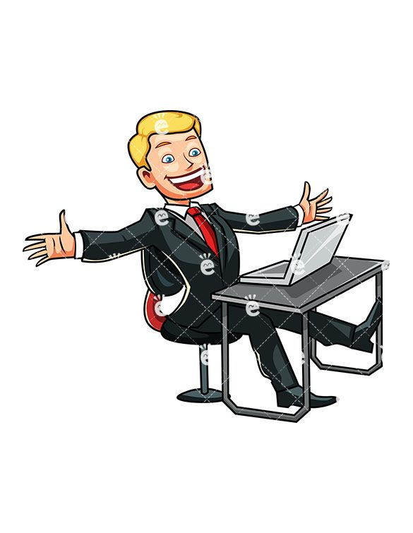 Happiness clipart business owner. A man seated at
