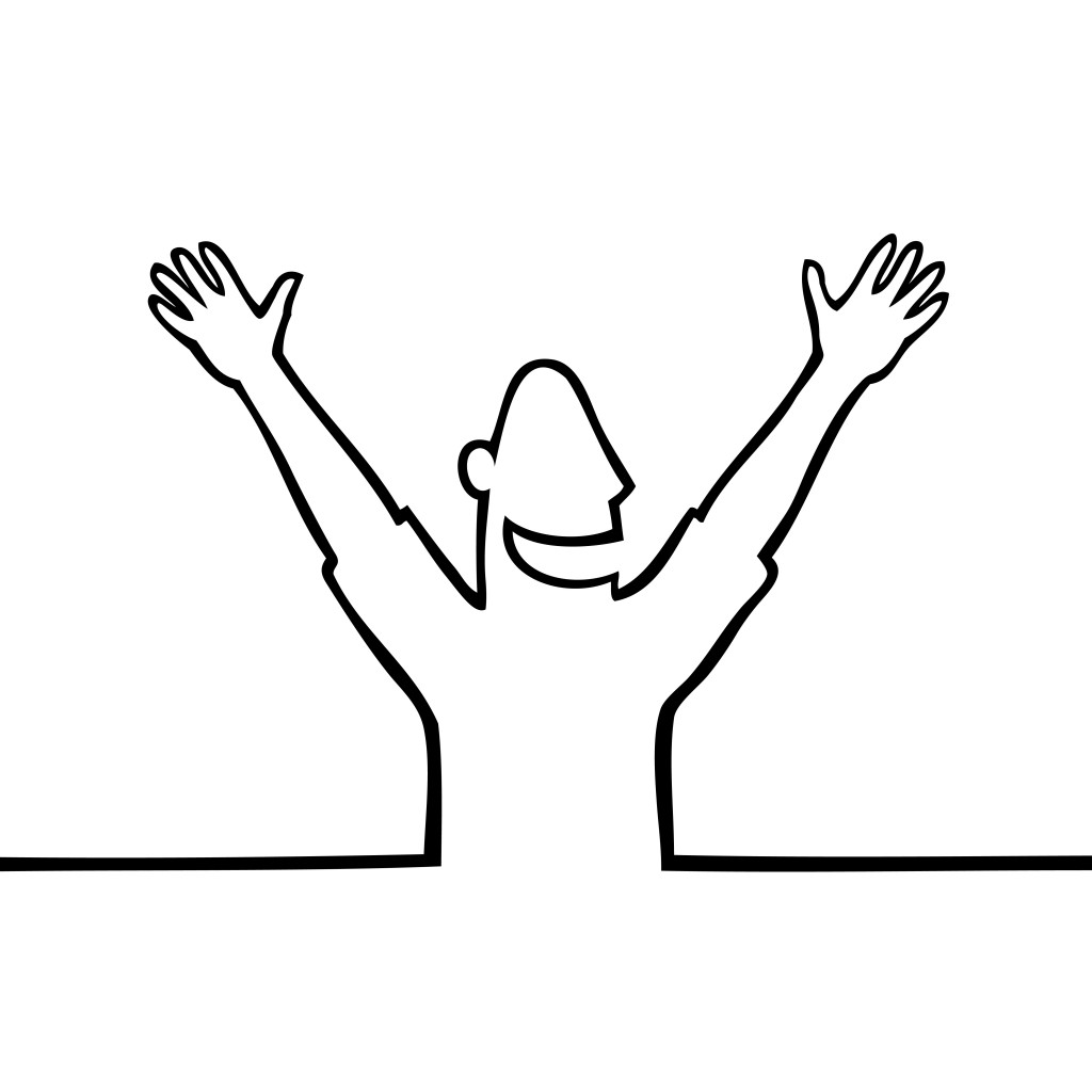 Happiness clipart happy man. With hands in the