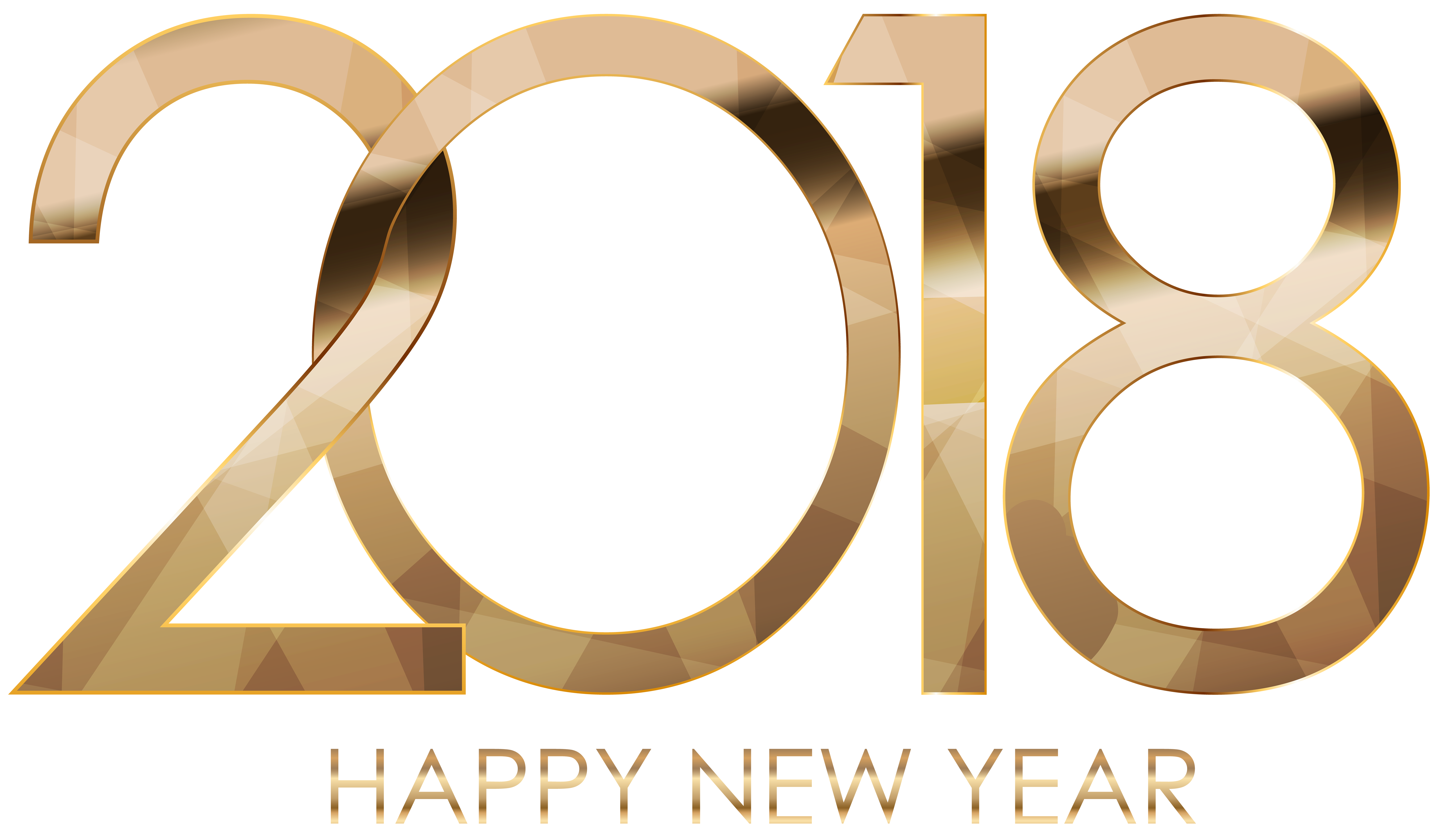 Happy 2018 png. New year gold