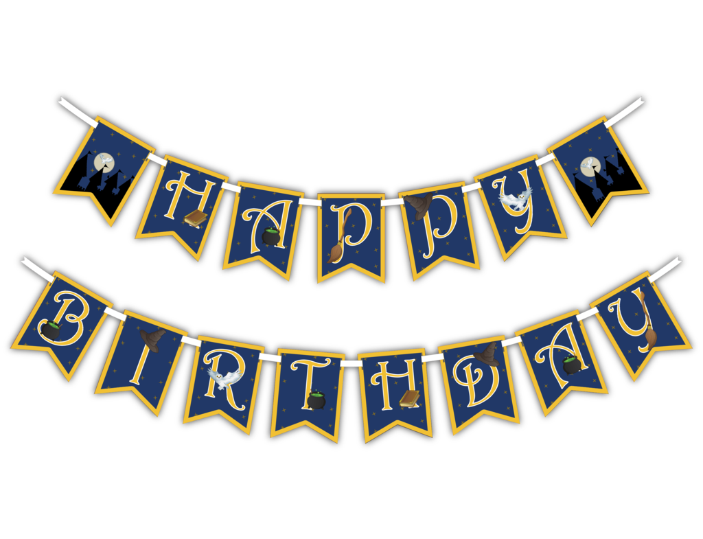Happy banner png. Wizard castle birthday party