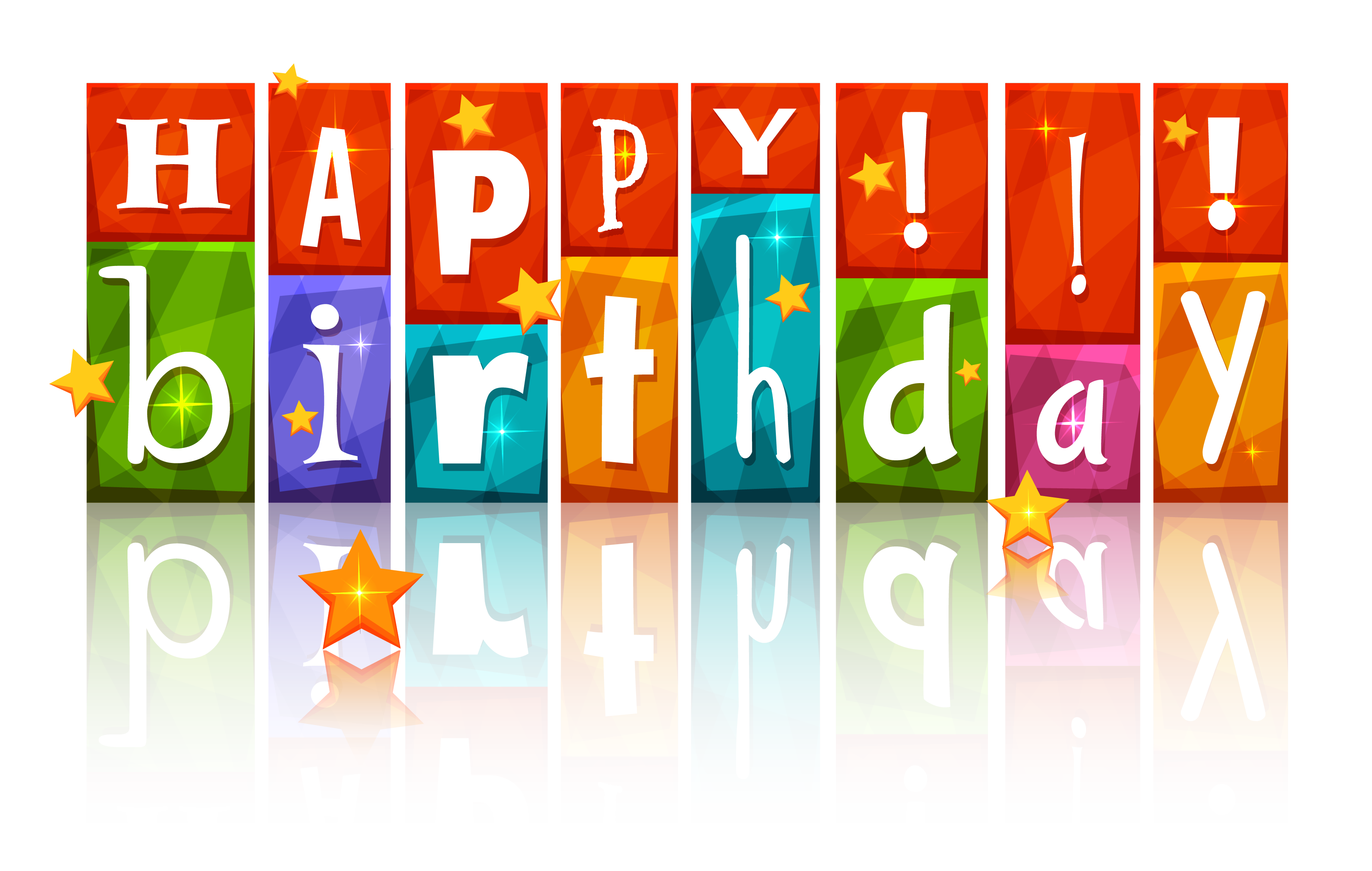 Happy birthday 3d png. Transparent colorful with stars