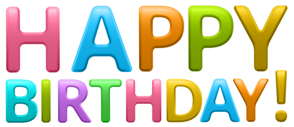Happy birthday 3d text png. Colorful transparent clip art