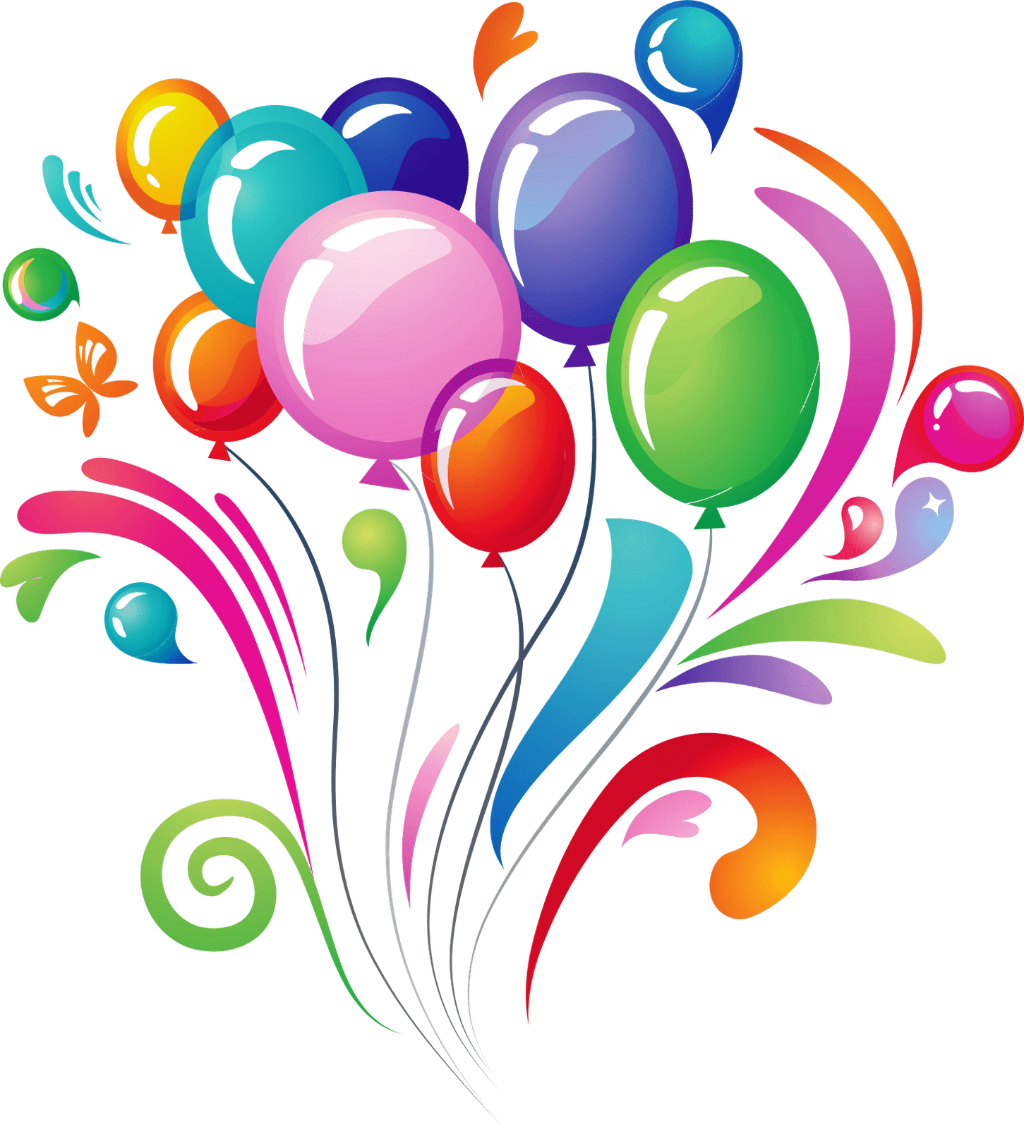 Happy birthday balloons png transparent background. Explosion stickpng